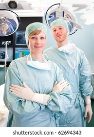 Two medical doctors getting ready for an operation