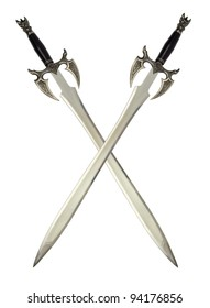 two medieval swords over white