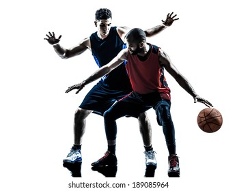 two men basketball players competition in silhouette isolated white background