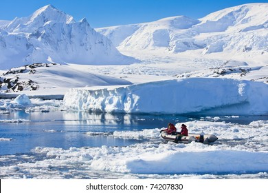 two men in the boat in Antarctica