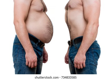 Two men bodies: one fat on the left and one slim muscled fit on the right due to sports, fitness, exercises, diet and health food, before and after concept isolated on white background