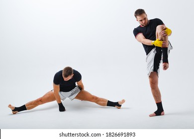 Two men boxers fighting muay thai peparing boxing