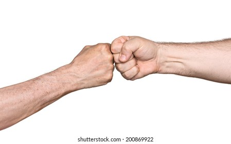 Two men bumping fists isolated on white background