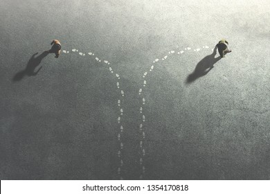 two men change their common route taking different ways, surreal concept