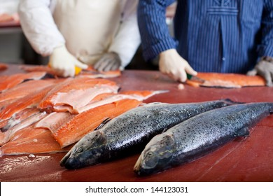 two men cutting salmon in fish industry