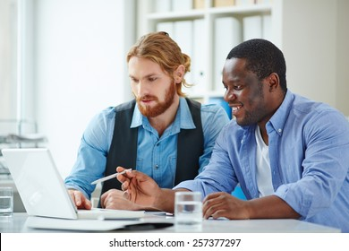 Two men discussing laptop presentation in office