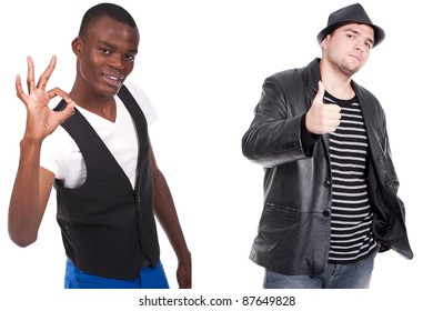 two men doing ok sign and thumb up