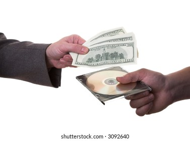 two men exchange money and CD
