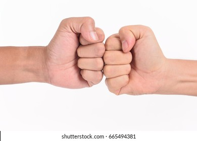 Two men fist to fist  on white background
