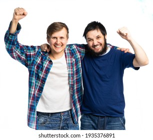 two men are holding bottles of beer and chips with popcorn. fans. isolated white background
