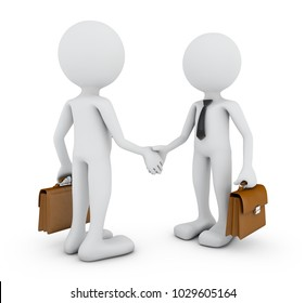 Two men with leather briefcases shake hands.3d rendering with Clipping Path.