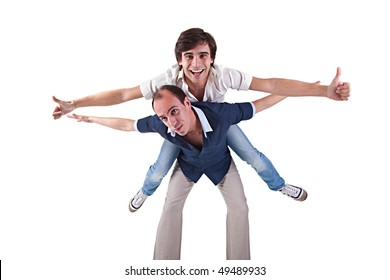 two men, one carrying on his back the other