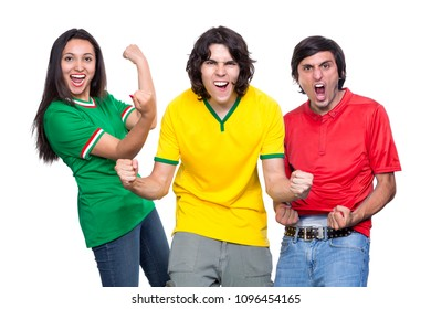 Two men and one woman sports fans with shirts of different colors