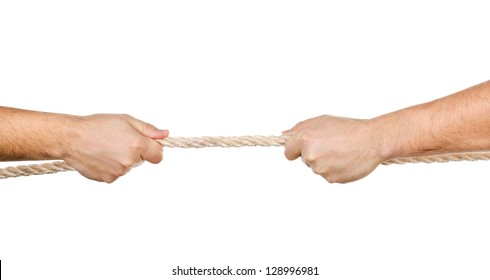 Two men pulling a rope in opposite directions isolated on white