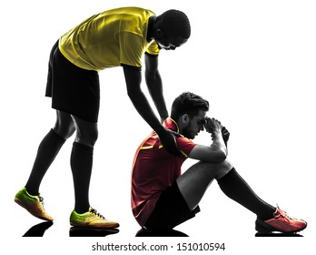 two men soccer player playing football competition  fair play concept in silhouette  on white background