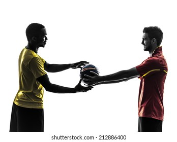 two men soccer player playing football competition giving football on white background