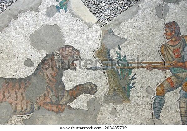 Two Men Spear Fighting Tiger Mosaic Stock Photo (Edit Now
