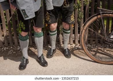 Two men with traditional Bavarian Lederhosen