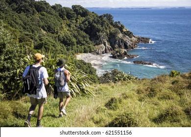 Two men tramping toward hidden beach on Tiritiri Matangi Island, New Zealand.