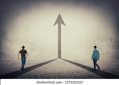 Two men walking on a pavement road and pathways join together and transform into a straight arrow going up. Business cooperation and partnership, sharing thoughts, working and merge for common goal.