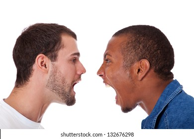 Two men yelling at each other. All on white background.