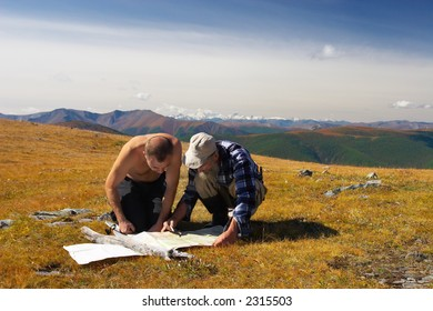 Two mens and mountains. Altay. Russia.