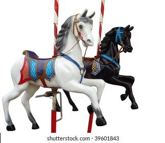Two Merry-Go-Round Horses isolated with clipping path