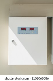 Two metal electricity control box with sign on the wall. electrical cabinet with warning signs and padlocks. pair of High voltage cabinet electrical power together. distribution box.