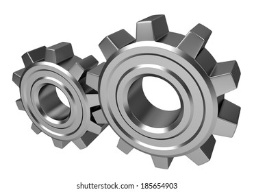 Two metal gears isolated on white background
