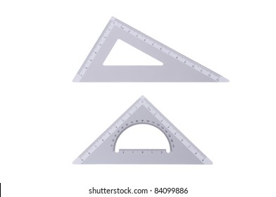 Two metal professional drafting triangles isolated