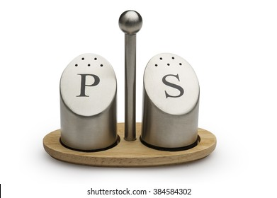 Two metal salt and pepper shakers isoalted , Clipping Path included