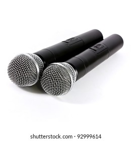 Two microphone wireless on white background
