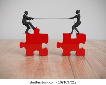 Two miniature people executives pull jigsaw puzzle pieces into position demonstrating teamwork as 3d rendering.