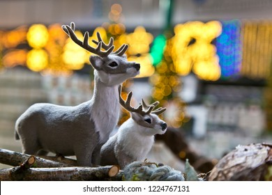 Two miniature reindeer as decoration