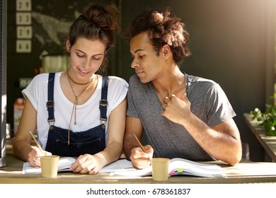 Two mixed race students sitting in coffee shop drinking takeaway coffee reading books and writing notes. European female helping her Afro American friend to understand new material. Teamwork concept
