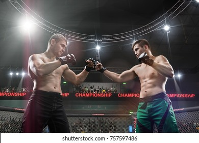 two mma fighters standing in fighting stance ready to fight in mma cage close-up