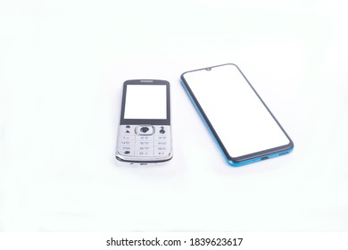 Two mobile phones new model and old on a white background