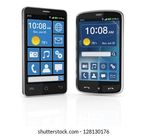 two modern cell phones with touchscreen and different ui (3d render)