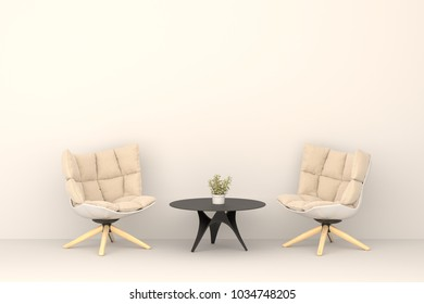two modern chair with table in modern living room. Minimal style concept. pastel color style.