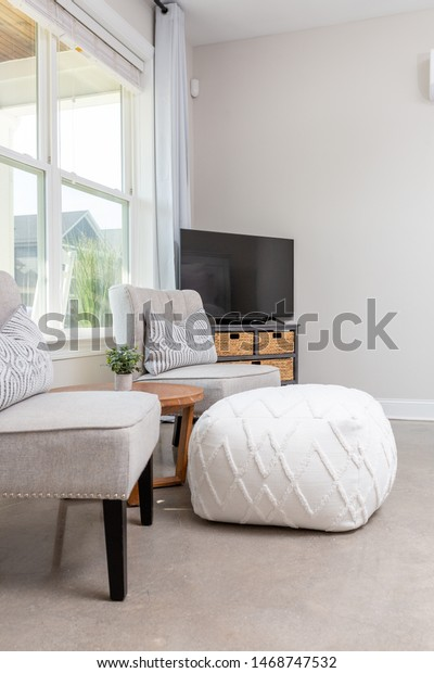Two Modern Chairs Coffee Table Pouf Stock Photo Edit Now 1468747532
