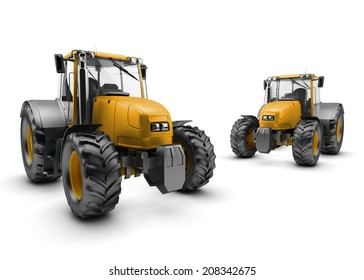 Two Modern farm tractors isolated on white background