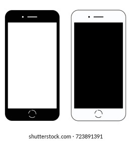 Two modern glossy electrical smart phones with white and black blank screen set. Flat style icon. Raster illustration