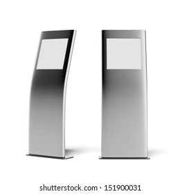 two modern metal advertising stands