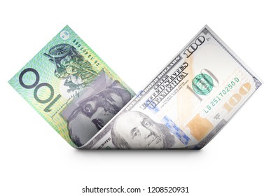 Two money bills aligned on top of each other and bended so that it looks like one bill is turning into the other symbolizing financial exchange concepts.