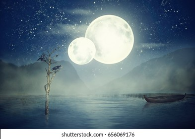 Two moons on starry misty sky over night lake. Crows sit on dead tree sticking out of the water. Empty boat without oars boat drifts to right side. Dark mountains in the background, fantasy concept