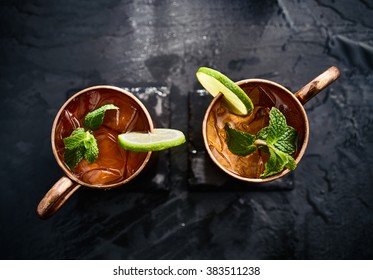 two moscow mules shot in flat lay composition