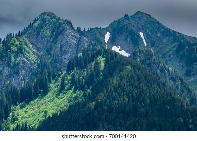 Two mountain peaks with conifer forest and clearings lit by sun, heavy storm clouds behind