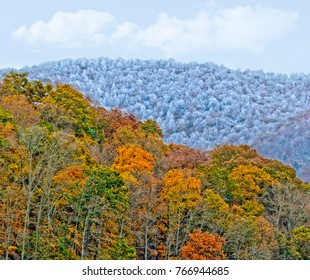 Two Mountain Ranges with Fall Colors and Winter Snow