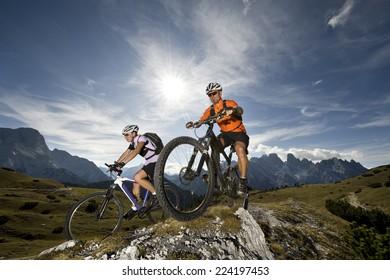 two mountainbikers in Action - mountain bike