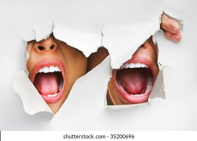 Two mouths screaming from hole in wall